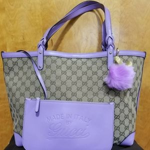 Authentic Gucci Signature Tote Bag with Pouch